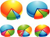 picture of pie-chart  - 5 colourful 3d pie graphs isolated on white - JPG