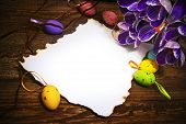 Easter Decoration Blank Empty Letter Card Vintage Eggs Crocus