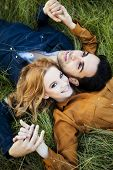 Above shot of a young couple in the countryside lying in the grass