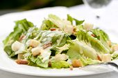 Healthy caesar salad, served al fresco.