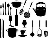 foto of kitchen utensils  - miscellaneous kitchen utensils silhouettes  - JPG