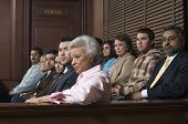 stock photo of jury  - Multi ethnic jurors in witness stand of court house - JPG