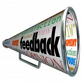 A megaphone or bullhorn with the word feedback and many related terms such as judgment, opinion, reaction, attitude, view, viewpoint, answer, satisfaction, and more