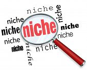 A magnifying glass hovering over several instances of the word niche, symbolizing targeted marketing