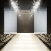 Empty runway. A 3D illustration blank template layout of fashion empty white catwalk runway.