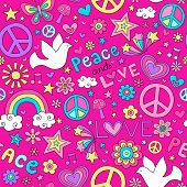Peace, Love, and Doves Seamless Pattern Groovy Notebook Doodle Design- Hand-Drawn Illustration Backg