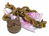 Money Security Concept - Euro Pile Under Lock And Key