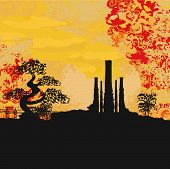 Smoking Factory With Tree At Sunset Or Sunrise
