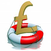 Pound Sterlings Symbol In Lifebuoy