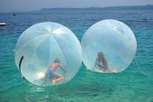 Children in air balls on Golden Cape in Croatia