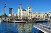 BARCELONA, SPAIN - JANUARY 26: Port Vell and Columbus Monument on January 26, 2013 in Barcelona, Spa