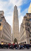 NEW YORK CITY, NY, USA - DEC 30: Rockefeller Center in the day on December 30, 2011 New York City. It was built by the Rockefeller family in 1939 and was declared a National Historic Landmark in 1987.