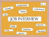 foto of pegboard  - Job Interview Corkboard Word Concept with great terms such as resume career salary sell and more - JPG