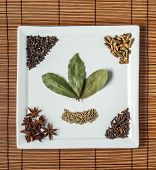 6 spices on the white plate