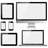 image of screen  - Set of electronic devices with white - JPG