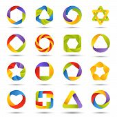 foto of plexus  - Abstract vector fun symbols isolated on white - JPG