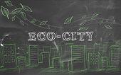 Eco-city green tourism text blackboard