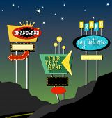 stock photo of motel  - vintage retro marquis lighted signs - JPG