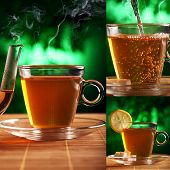 A cup of coffee with a slice of lemon and a teapot nearby is on the table over a mystical greenish b