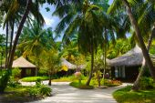stock photo of beach-house  - Bungalows and pathway flowers trees  - JPG