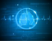 stock photo of ambulance  - Lungs and heart beat monitoring line - JPG
