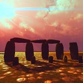 Stonehenge at beautiful sunset in summer