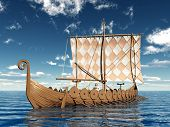 stock photo of viking ship  - Computer generated 3D illustration with a Viking Ship - JPG