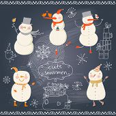 Funny cartoon snowmen holiday set. Cute winter collection on blackboard background. New Year design with snowflakes, gifts and birds.