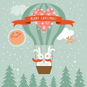 stock photo of rabbit year  - Two funny vector new year rabbits flying a magic balloon - JPG