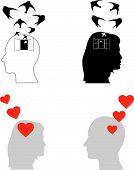 Conceito de depressão e amor, vetor