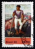 Postage Stamp Brazil 1980 The Worker, By Candido Portinari