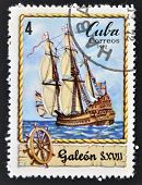 A stamp printed in Cuba shows Sailing vessel Galleon S. XVII