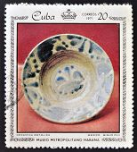 Stamp dedicated to works from the Metropolitan Museum of Havana shows majolica ceramics Mexico XVII