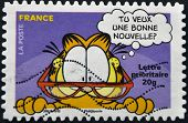 A stamp printed in France shows Garfield