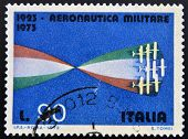A stamp printed in Italy dedicated to military aviation