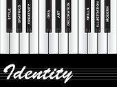 High resolution concept or conceptual white identity text piano keys word cloud or tagcloud isolated