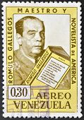 A stamp printed in Venezuela showing a Romulo Gallegos portrait teacher and novelist