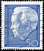 A stamp printed in Germany shows Heinrich Lubke Karl was President of the Federal Republic of German