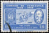 A stamp printed in Venezuela dedicated to centenary of the introduction of the postage stamp