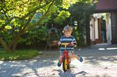 Little Toddler Boy Riding On His  Bicycle In Summer.
