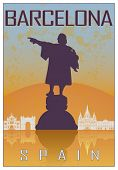 image of christopher columbus  - Barcelona vintage poster in orange and blue textured background with skyiline in white - JPG