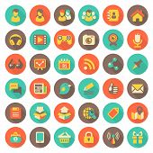 Social Networking Flat Round Icons with Long Shadows