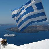 Boat And Greek Flag