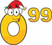 Price Tag Number 0 99 With Santa Hat Cartoon Character