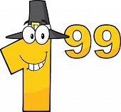 Price Tag Number 1.99 With Pilgrim Hat Cartoon Character