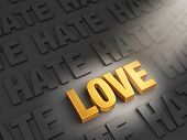 stock photo of hate  - A spotlight illuminates bright gold  - JPG