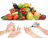 Постер, плакат: Diabetes Concept Glucose Meter In Hand And Healthy Organic Food