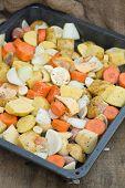 Freshly Prepared Seasonal Winter Vegetables In Roasting Tin