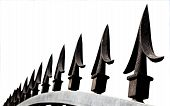 Extreme Closup Of Decorative Security Spikes On Top Of Gate