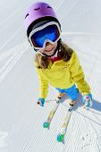 Ski, ski resort, winter sports - child on ski vacation